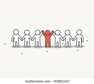 Little white people with creative leader. Creative idea and teamwork concept. Hand drawn cartoon or sketch design. Vector illustration