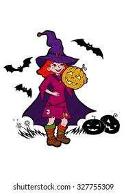 little witch with bats and pumpkins, cartoon vector illustration