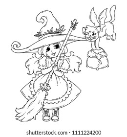 A little witch with a broom, a cat and a pot. Vector illustration isolated on white background. Coloring page for children.