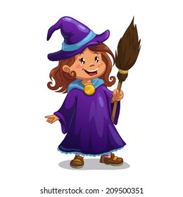 Little witch, cute cartoon girl in the Halloween costume with broom. Isolated vector