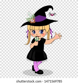 little witch girl in cute dress Happy Halloween cartoon baby character in costume, hat and lollipop framed with cobweb isolated on transparent background. Vector illustration, clip art for design.