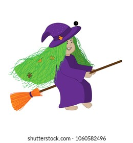 Little witch with green hair riding her broom and followed by her little black bird.