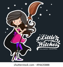 Little Witch. Halloween Witch. Print on T-shirts, bags, stickers or Halloween cards.  Halloween collection.