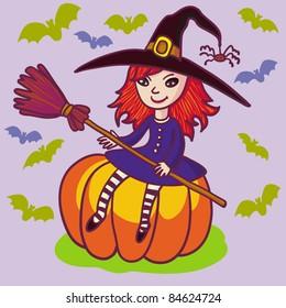 Little witch on pumpkin.