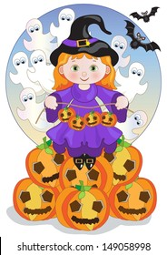 Little Witch on the Pumpkins