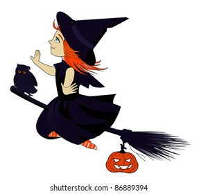 Little witch on white background