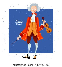 Little Wolfgang Amadeus Mozart with violin. Famous people. Vector illustration.
