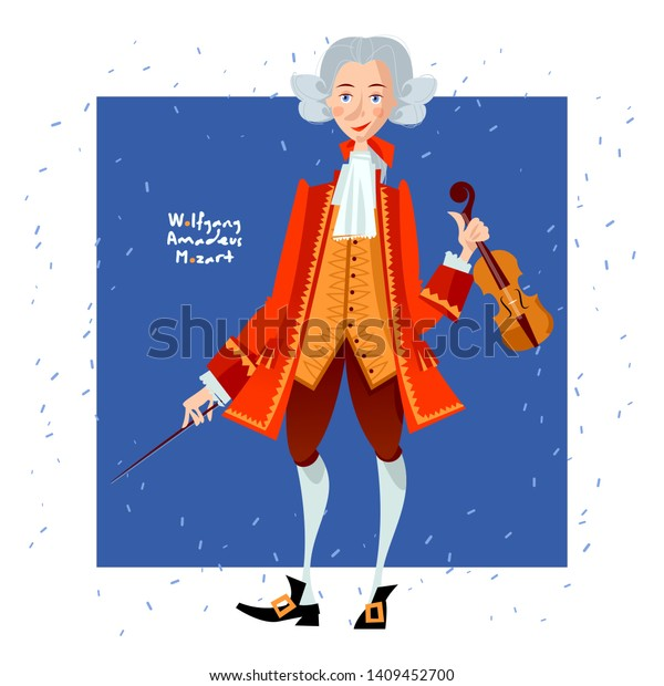 Wolfgang Amadeus Mozart. Vector Portrait. Royalty Free Cliparts, Vectors,  And Stock Illustration. Image 104269934.