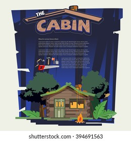 Little wood cabin log  in the forest come with tools that build the cabin. night time. typographic for header design - vector illustration