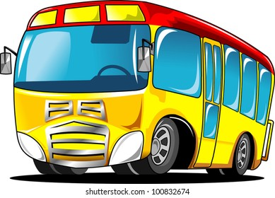 little yellow school bus with a red roof (vector illustration);