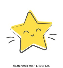 Little Yellow Smiling Star Vector Design
