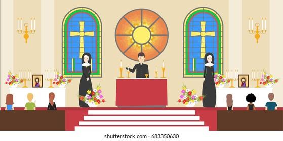 Liturgy at church.