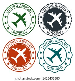 Liuting Airport Qingdao. Qingdao airport logo. Flat stamps in material color palette. Vector illustration.