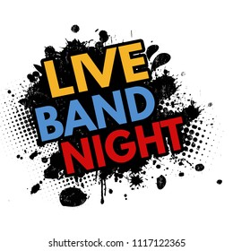 Live band night grunge rubber stamp on white background, vector illustration