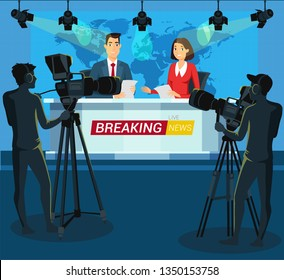 Live breaking news cartoon vector illustration. Journalists reading global news from papers. Broadcasting. Cameras on tripods in mass media, press studio. World map on screen. Cameraman flat character