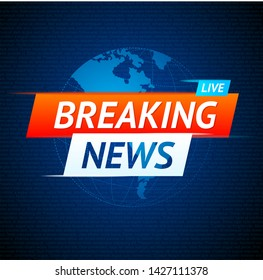 Live Breaking News Concept on a Globe Screen TV Card Background for Channels and Studio Report. Vector illustration