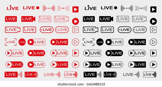 Live broadcast icons set. Live video streaming. Red symbols and buttons for live broadcast, online broadcast. Red and black buttons for live and online applications. Vector illustration