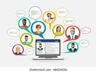 Live chat. Online Chat with Social Network. Flat design vector illustration concepts. Concepts web banner and printed materials.
