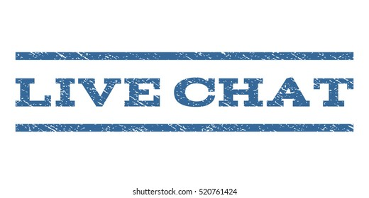 Live Chat watermark stamp. Text caption between horizontal parallel lines with grunge design style. Rubber seal stamp with dirty texture. Vector cobalt blue color ink imprint on a white background.