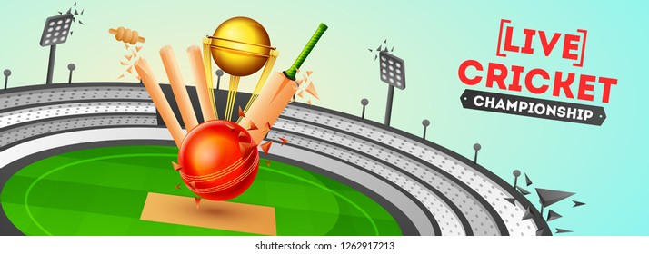 Live Cricket banner or poster design, Close view of ball, bat, stump and golden trophy on cricket stadium background.