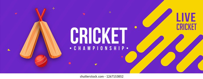 Live cricket banner or poster design with illustration of cricket bat and ball on purple abstract background.