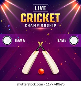 Live cricket championship banner with bat and ball, and night stadium background.