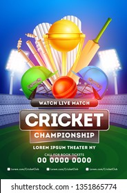 Live cricket championship concept with a match between two teams, close view of a golden trophy, stumps, cricket bat and ball on night stadium background.