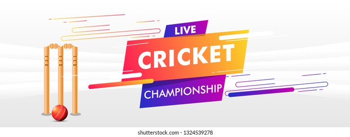 Live cricket championship header or banner design with illustration of wicket stumps on white abstract background.