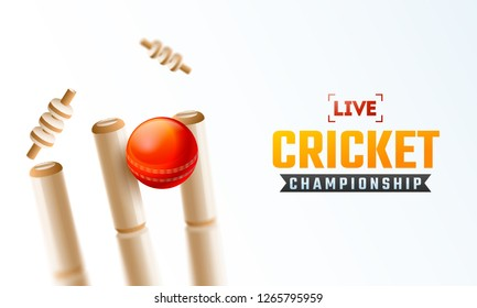 Live Cricket Championship poster design with close view of realistic cricket ball hitting the wicket stumps on white background.