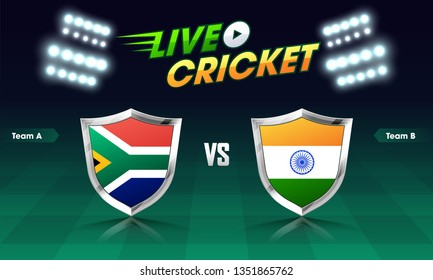 Live cricket match concept with participating countries flag shield with India VS South Africa highlighted on night stadium background.