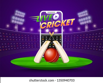 Live cricket streaming on smartphone concept with bats, and ball on night stadium background.