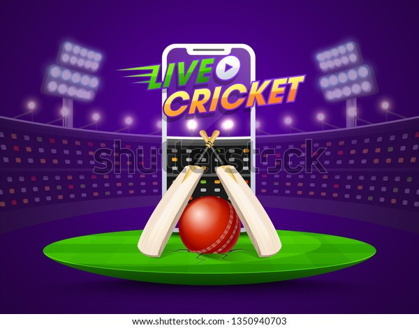 Live Cricket Streaming On Smartphone Concept Stock Vector