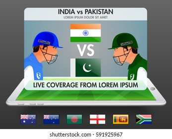 Live Cricket Telecast Promotion Banner or UI Screen with illustration of Participating Countries Flags or Batsmen.