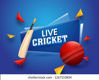 Live cricket tournament poster or banner design with game equipments on glossy blue background.