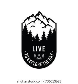 Live to explore the day. Mountains badge.