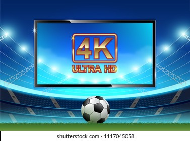 Live football and soccer league or world championship tournament 4k ultra HD monitor watching smart tv vector illustration
