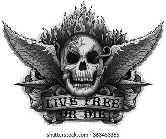 Live Free or Die: Grunge Biker Skull design with Flame & Wings.