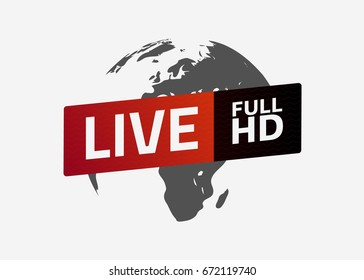 Live full HD button. Globe. Sign, emblem, logo. Template for citybanner, website, design, cover, infographics. Vector illustration. Light background. Eps10.