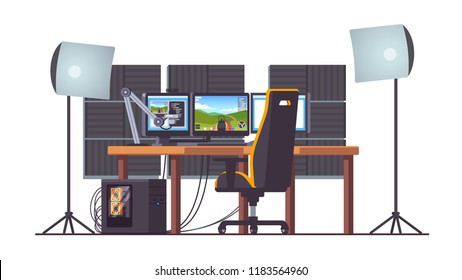 Live game streaming equipment professional setup. Desktop pc, three monitors on desk, gaming chair, lamps, microphone and acoustic foam. Livestreaming clipart. Flat vector isolated illustration