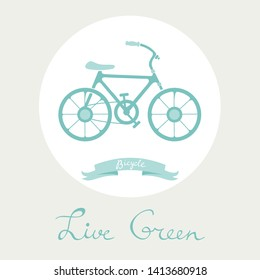 Live green. Conceptual illustration wth bycicle as a symbol of green planet