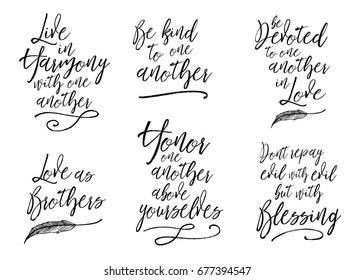 Live in harmony with one another, Love as brothers, be devoted to one another, be kind, honor one another, don't repay evil with evil, Biblical Typographic Art collection, 6 designs in set