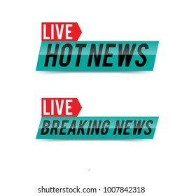 Live Hot News & Breaking News Template Vector Stock