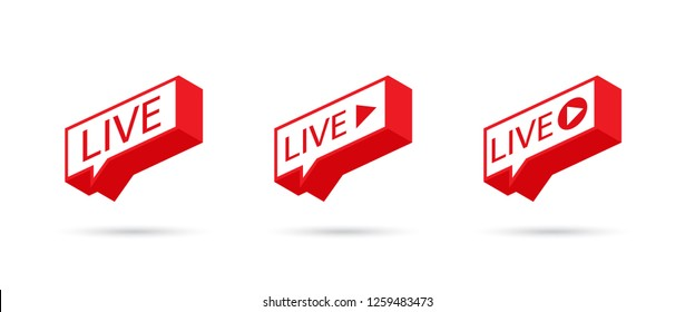 LIVE icon, button, symbol, web, ui, app. Social media icon LIVE streaming. Speech bubble. Vector illustration.