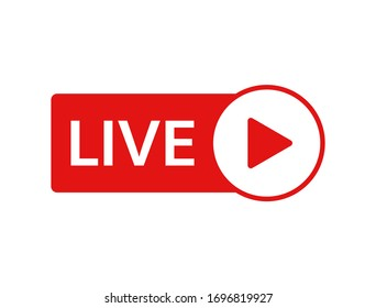 Live icon on white background. Live stream, video, news symbol. Social media template. Broadcasting, online stream logo. Play button. Social network sign. Vector illustration.