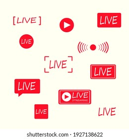 Live icons set. Vector illustration in flat design on white background.