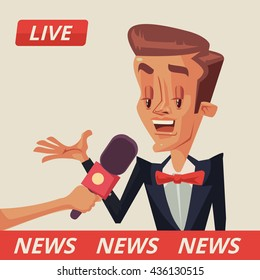Live interview. Interviews with politicians. Interview with movie star. Vector flat cartoon illustration