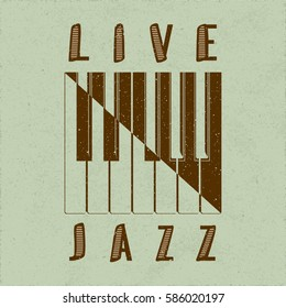 Live Jazz Calligraphy Illusion Logo Lettering with Piano Keys Yin Yang Style Composition and Grunge Effect - Brown Elements on Green Rough Paper Background - Flat Contrast Graphic Design