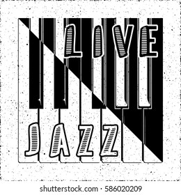 Live Jazz Calligraphy Illusion Logo Lettering with Piano Keys Yin Yang Style Composition and Grunge Effect - Black Elements on White Background - Flat Contrast Graphic Design