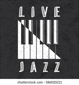 Live Jazz Calligraphy Illusion Logo Lettering with Piano Keys Yin Yang Style Composition and Grunge Effect - White Elements on Black Rough Paper Background - Flat Contrast Graphic Design