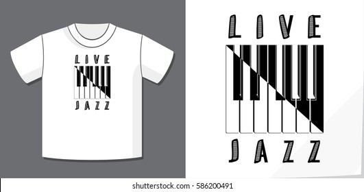 Live Jazz Calligraphy Illusion Logo Lettering and Piano Keys Composition with Potential Application Example on T-Shirt Vector Template - Black Elements on White Background - Yin Yang Graphic Design